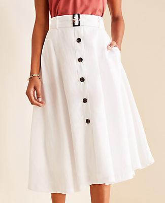 Ann Taylor Petite Tortoiseshell Print Belted Button Skirt