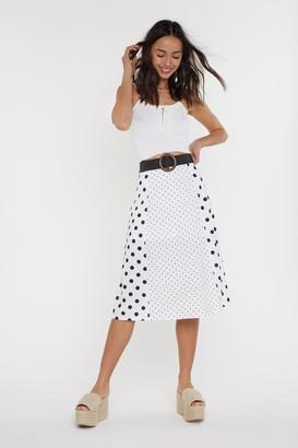 Nasty Gal Womens Dot My Fave Skirt Slit Midi Skirt - white - S