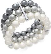 Charter Club Silver-Tone Imitation Pearl Triple-Row Stretch Bracelet, Created for Macy's