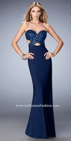 La Femme Cut Out Sequin Sweetheart Prom Dress