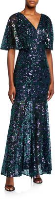 Dress the Population Lourdes Flutter Half-Sleeve Lace Gown