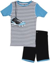 Petit Lem Baseball 2 Piece Shorts Set (Toddler/Kids) - Blue-4