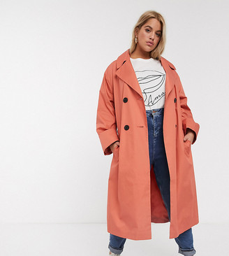 ASOS DESIGN Curve double breasted lightweight trench in teracotta