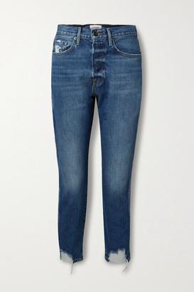 Frame Le Original Cropped Distressed High-rise Straight-leg Jeans - Mid denim