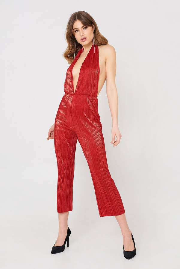 Oh My Love Pleat Plunge Culotte Jumpsuit Red Glitter