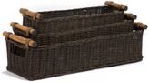 The Basket Lady Long Narrow Pole Handle Wicker Basket, Antique Walnut Brown, Small