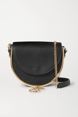 See by Chloe Mara Embellished Textured-leather Shoulder Bag - Black