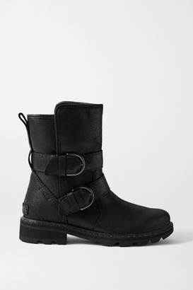 Sorel Lennox Moto Cozy Buckled Shearling-lined Waterproof Brushed-leather Ankle Boots - Black