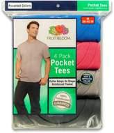 Fruit of the Loom Men's 4-Pack Pocket Crew-Neck T-Shirt regbg Ash Grey