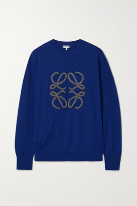 Loewe Embroidered Wool-blend Sweater - Royal blue