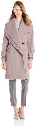 Badgley Mischka Women's Manila Wool Coat with Leather Trim