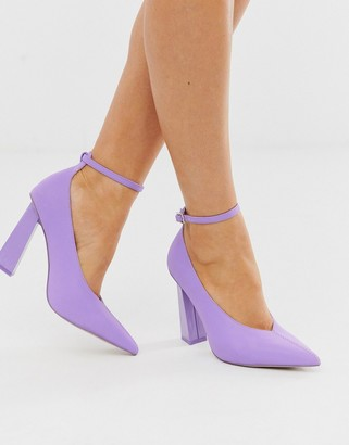 Asos Design DESIGN Plush reflective pointed high heels in lilac