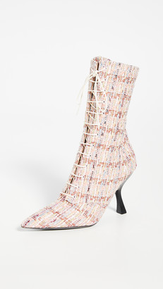 Brock Collection Boucle Metallic Lace Up Booties