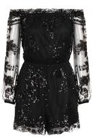 Quiz Black Sequin Mesh Bardot Long Sleeve Playsuit