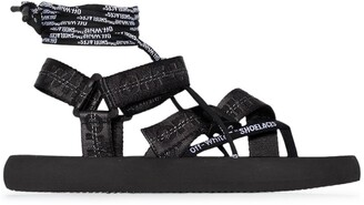 Off-White Multi Strap Flat Sandals