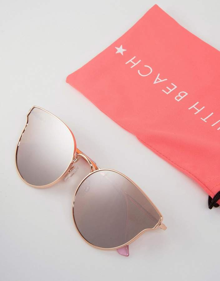 South Beach Rose Gold Cateye Sunglasses with Flash Lens