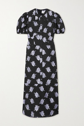 Erdem Antonetta Metallic Fil Coupe Crepe Midi Dress - Black