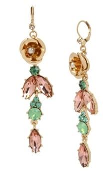 Miriam Haskell New York Flower Stone Linear Earrings