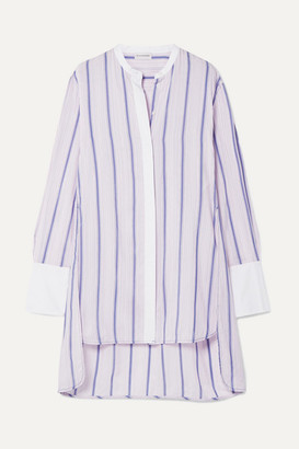 By Malene Birger Micki Oversized Poplin-trimmed Striped Cotton-blend Voile Tunic - Pastel pink