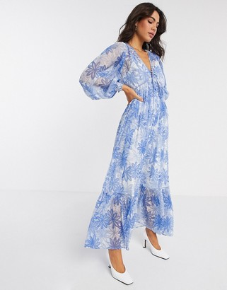 Asos DESIGN soft drawstring waist pleated maxi dress in floral print