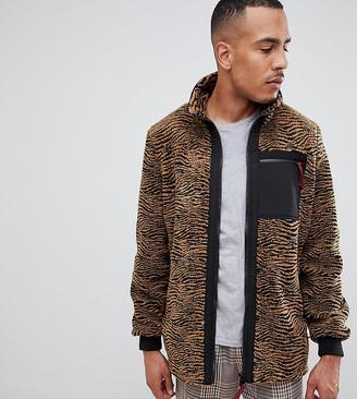 ASOS DESIGN Tall teddy jacket in zebra print with pocket
