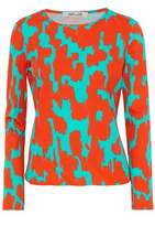 Diane von Furstenberg Two-Tone Printed Cotton Top