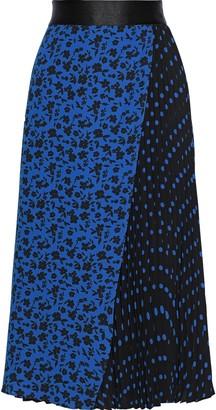 Alice + Olivia Lilia Pleated Printed Crepe Midi Skirt