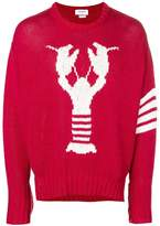Thom Browne 4-Bar Lobster Icon Intarsia Pullover
