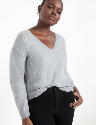 ELOQUII Fine Knit V Neck Sweater