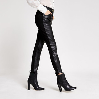 River Island Black faux leather and ponte skinny trousers