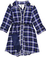 Beautees Cobalt Plaid Lace-Trim Dress - Girls