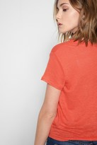 7 For All Mankind Short Sleeve Tie Front Top In Hibiscus