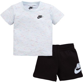Nike Sportswear Infant Boys French Terry Tee and Shorts Set - White Black