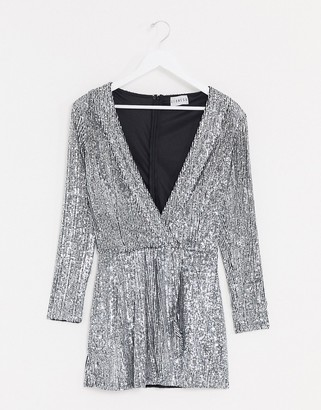 Lioness plunge sequin mini dress in silver