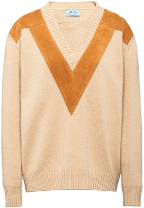 Prada panelled knitted jumper