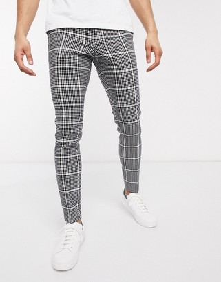 ASOS DESIGN smart super skinny trousers in black wool mix check