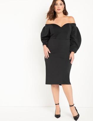 ELOQUII Dramatic Sleeve Strapless Dress