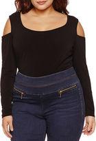 Bisou Bisou Long Sleeve Cold Shoulder Bodysuit-Plus