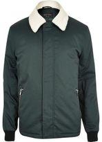 River Island Mens Dark green borg collar harrington jacket