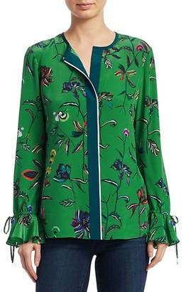 Derek Lam Floral Silk Bell-Sleeve Blouse