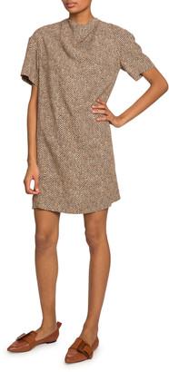 Chloé Short-Sleeve Herringbone Dress