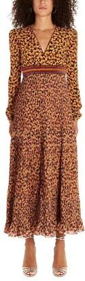 Saloni Floral Pleated Bead Embellished Dress