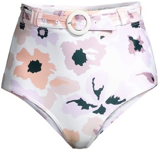 Peony Swimwear Soiree Belted High-Waist Bikini Bottom