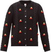 Shrimps Silos Cherry Cable-knit Wool-blend Cardigan - Womens - Black Multi