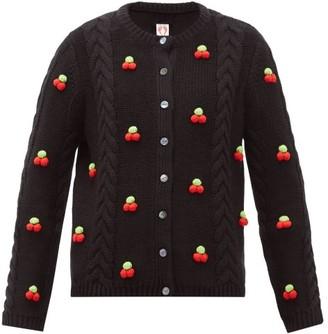 Shrimps Silos Cherry Cable-knit Wool-blend Cardigan - Black Multi