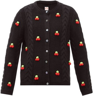 Shrimps Silos Cherry Cable-knit Wool-blend Cardigan - Womens - Black Multi