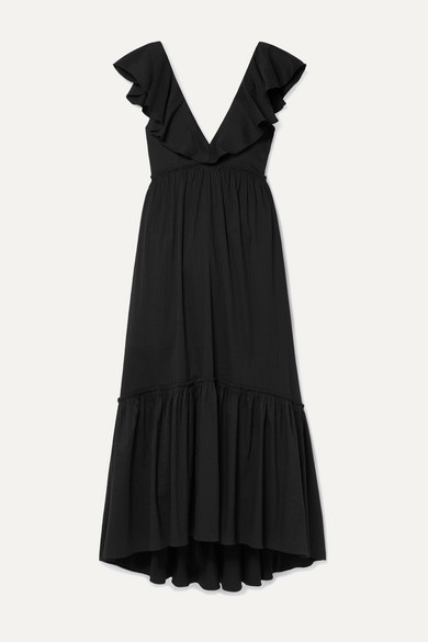 La Ligne D'été Ruffled Striped Cotton-blend Poplin Maxi Dress - Black