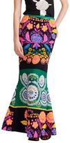 Cynthia Rowley Floral Tweed Godet Flare Skirt