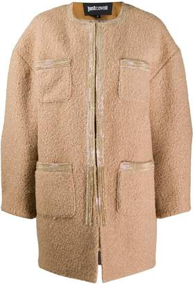 Just Cavalli patch pocket cocoon coat
