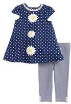 Little Me Daisy Polka Dot Dress & Stripe Leggings Set